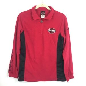 Harley Davidson 1/3 Zip Red Fleece Pullover Size M